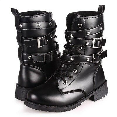 AU Women's Lace Up Buckle Ankle Martin Biker Leather Boots Combat Military Shoes