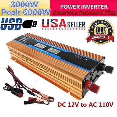 6000W Peak DC 12V to AC 110V Power Inverter Converter USB Output Charger For Car