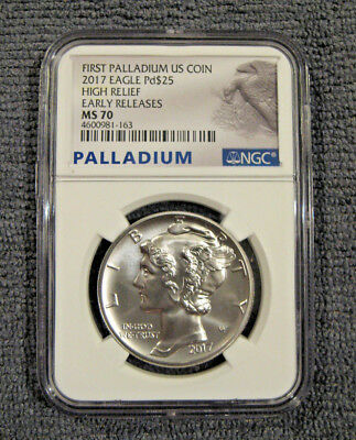 2017 Palladium Eagle High Relief Early Release 1 oz Coin --  MS70 NGC