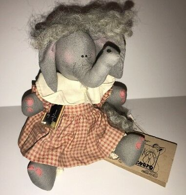 "1994 Plainfolk Kin Collection ELEPHANT Teacher 8"" Plush Doll, Luanne Minnig"
