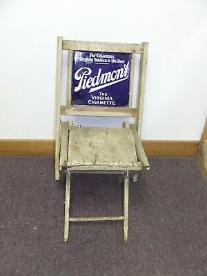 Vintage piedmont sign on wood folding chair