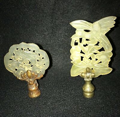 Antique Pair of Carved Chinese Jade Lamp Finials