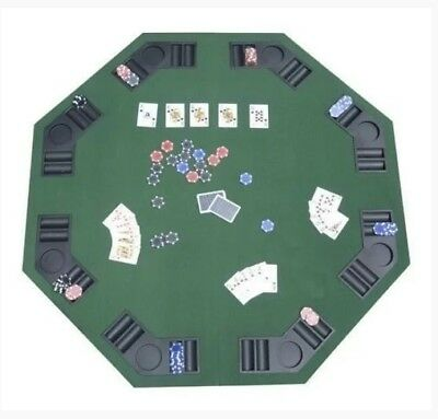 """PROFESSIONAL 48"""" Folding Poker Blackjack Table Top 8 Player OCTAGON cup Holders"""
