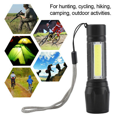 Portable Zoom T6 + COB LED USB Rechargeable Waterproof Flashlight Torch 4 Modes