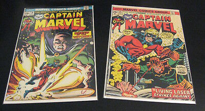 Lot of 2 Bronze-Age CAPTAIN MARVEL: #35 (FN+), #36 (FN+/VF-) *Glossy & Bright!*