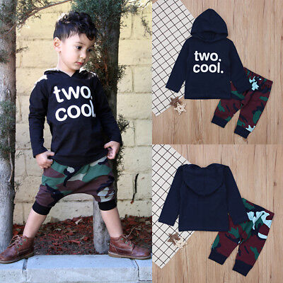 2PCS Causal Kids Baby Boy Clothes Hooded T-Shirt+Trousers Sports Pants Outfit