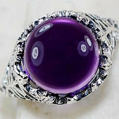 New Fashion Vintage Women Purple Crystal Ring Silver Tone Band Rings Size 6-10