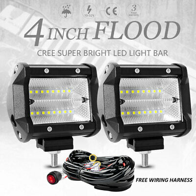 2x 4 inch 120W CREE Flood LED Work Light Bar Reverse 4WD 12V 24V + Wiring Kit