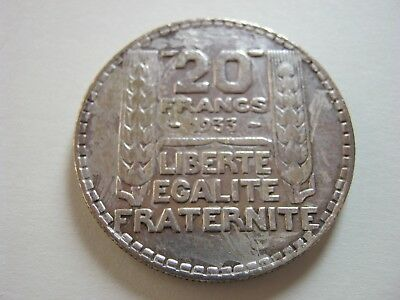 France 1933 20 Francs Silver, Large Crown Size Coin