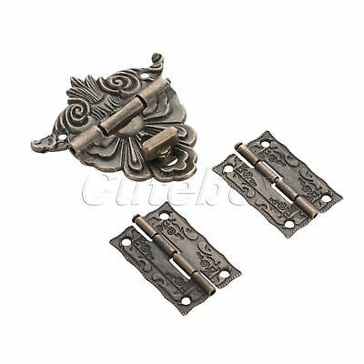 Vintage Jewelry Box Latch Clasps Trinket with 2pcs Amboss Chest Suitcase Hinges