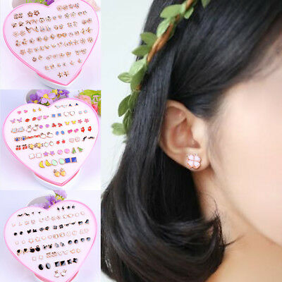 1/12/36Pairs Wholesale Girls Anti-allergy Ear Stud Earring Flowers Fruits Gift