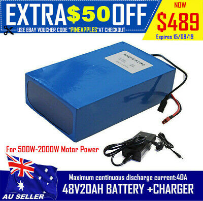Lithium Battery 20AH 48V Volt Rechargeable Bicycle 1000W E Bike Electric Li-ion