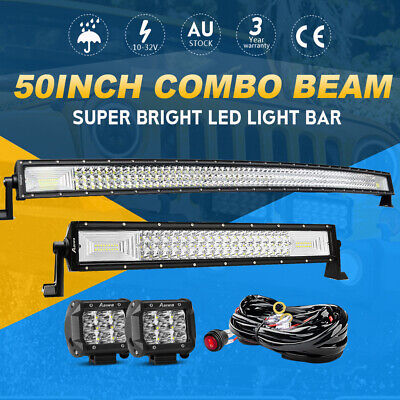 50'' Curved CREE LED Work Light Bar + 22 inch + 2x 4'' Flood Driving Offroad 4WD