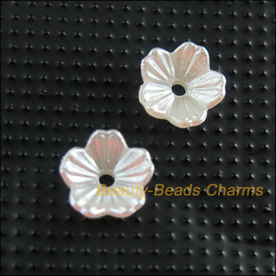 60Pcs White Plastic Acrylic Flower Leaf Spacer End Bead Caps Charms 8mm