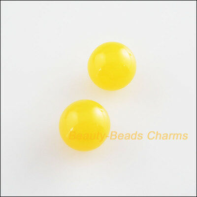 8Pcs Yellow Resin Round Pearl Half Hole Drilled Beads Charms 10mm