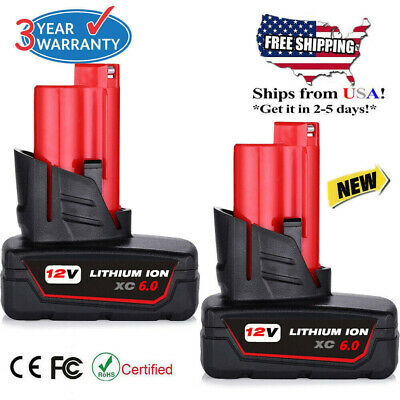 2X For Milwaukee 48-11-2460 M12 LITHIUM XC 6.0 Extended Capacity Battery 4.0AH
