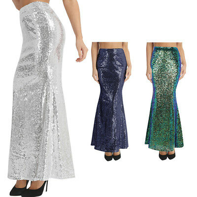 Womens Sequin Bodycon Wedding Tail Skirt Evening Party Cocktail Long Maxi Dress