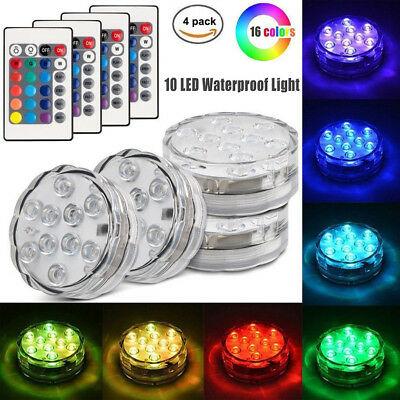 4PC Swimming Pool Light RGB LED Bulb Remote Control Underwater Color Vase Decor