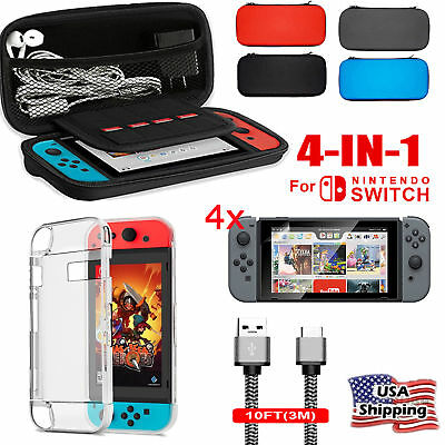 For Nintendo Switch 4in1 Travel Carrying Case Bag+Clear Screen Protector Film