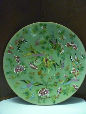 Very Nice Quality Antique Chinese Celedon Plate Hand Painted With Birds Etc