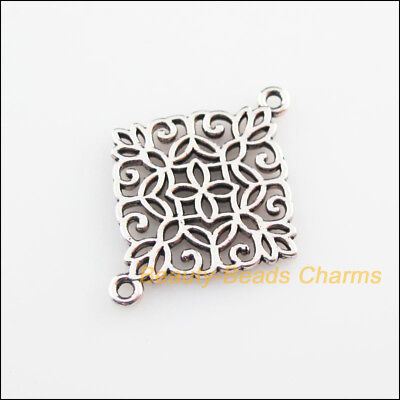 8 New Connectors Chinese Knote Tibetan Silver Tone Charms 22x28mm