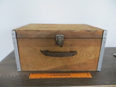 Vintage Retro Wood & Metal Wooden Storage Box Case with Lid for Restoration a/f