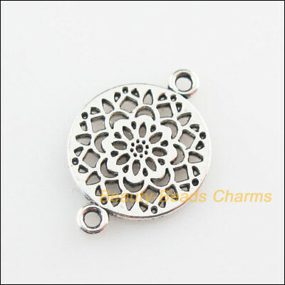 15 New Connectors Round Flower Tibetan Silver Tone Charms 14x20mm