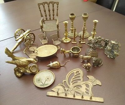 Job lot collection old brass items animals candlesticks etc approx 3kg