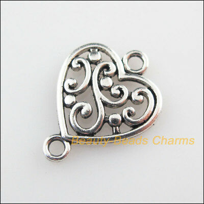 20 New Connectors Flower Heart Tibetan Silver Tone Charms 14.5x19mm