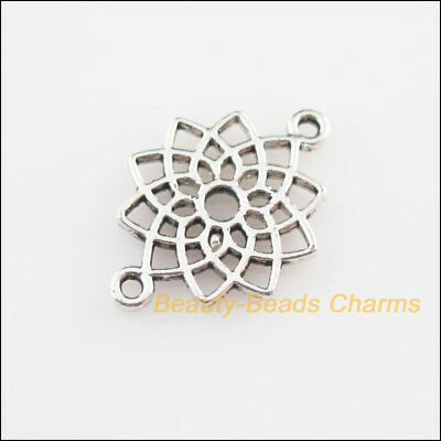20 New Connectors Flower Lotus Tibetan Silver Tone Charms 14x20mm