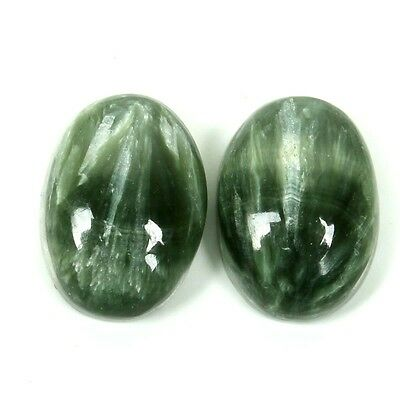 Beautiful Real 12.5 Cts SERAPHINITE Cabochon Oval Pair Gemstone 14x10 mm S-31100