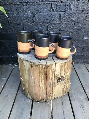 Vintage 1970's George Dear Studio Pottery 6x Mugs Terracotta / Black