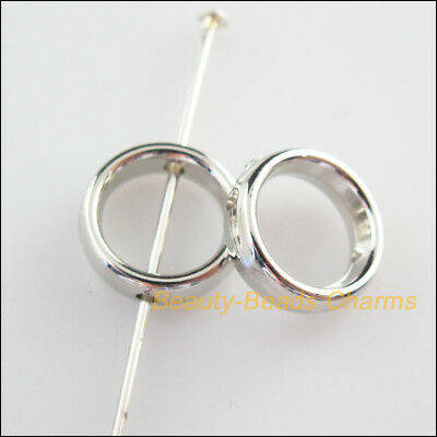 25Pcs Dull Silver Plated Acrylic Round Spacer Beads Frame Charms 12mm