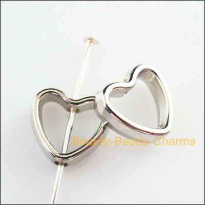25Pcs Dull Silver Plated Acrylic Heart Spacer Beads Frame Charms 11x12mm