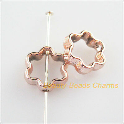 15Pcs Champagne Gold Acrylic Flower Spacer Beads Frame Charms 12mm