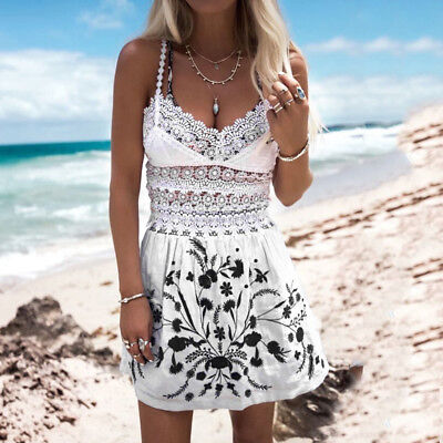 Womens Holiday Strappy Hollow Lace Ladies Summer Beach Midi Swing Sun Slip Dress