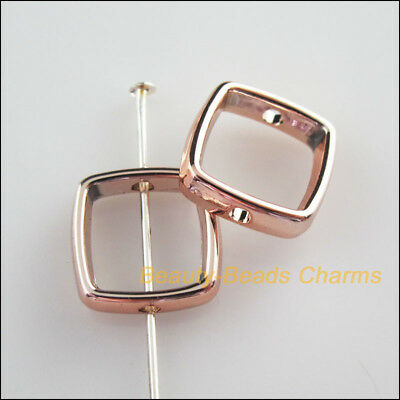15Pcs Champagne Gold Acrylic Square Spacer Beads Frame Charms 13mm