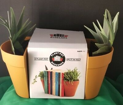 Plant Pots Book Ends Planter Spikt in Half Nerdy Shelf Accent Original Gift