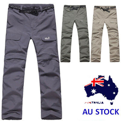 Mens Cargo Trousers Elastic 2-piece Detachable Shorts Work Wear Fishing Pants