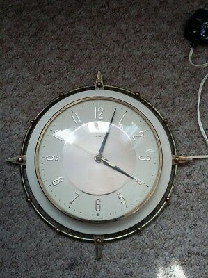 Metamec Vintage Retro Sunburst Style Electric Wall Clock- full working order