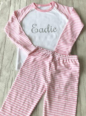 PERSONALISED PYJAMAS KEEPSAKE GIFT, Silver Glitter Name Pink and White PJs Cute