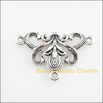 12 New Connectors Triangle Flower Tibetan Silver Tone Charms 20x31mm