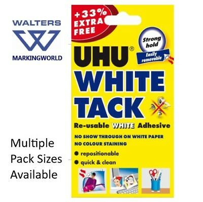 UHU White Tack, Reusable White Adhesive, 33% Extra Free, For sticking notes etc