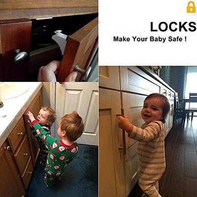 10Pcs Magnetic Cabinet Drawer Cupboard Locks For Baby Kid Safety Child Proof New