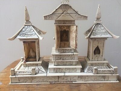 Large Buddhist Temple Carved From Bovine Bone - Unusual Chinese Buddha Interest