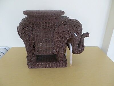 Wicker Rattan Brown ELEPHANT - Accent Side Table Plant Stand
