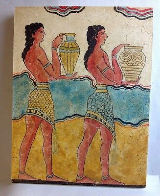 Vtg Greek Signed Minoan Cupbearers Greece Fresco Painting Plaque Wall Art