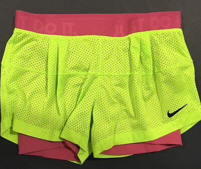 🔥 Nike Women Dri-Fit Yellow and Purple Running/Workout Shorts Size S Just Do It