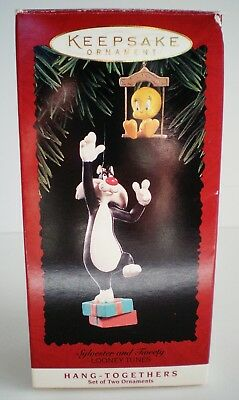 1995 Keepsake Ornament Sylvester And Tweety Looney Tunes Set Of 2 Ornaments