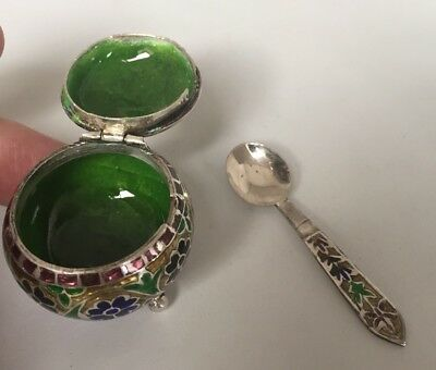925 SILVER AND ENAMEL SALT CONDIMENT POT With SPOON Islamic Persian Style